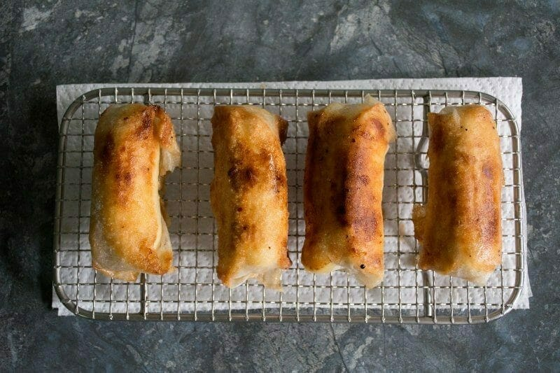 fried turon on wire mesh