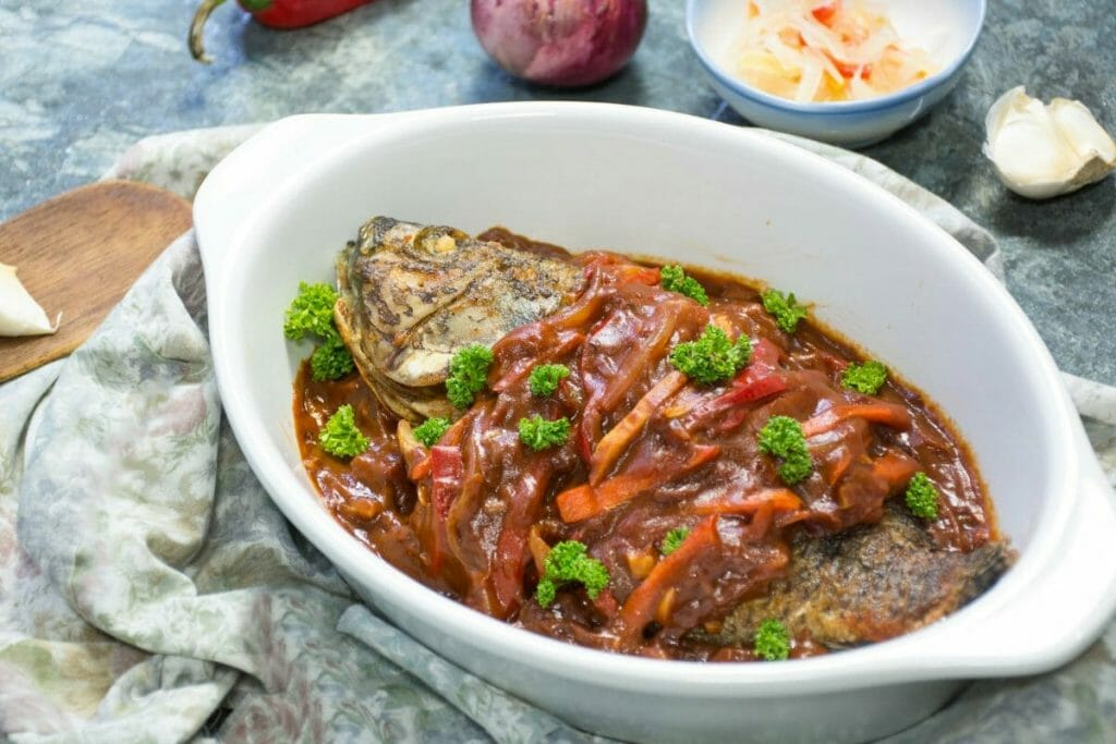 Sweet And Sour Tilapia Filipino Dish Side View