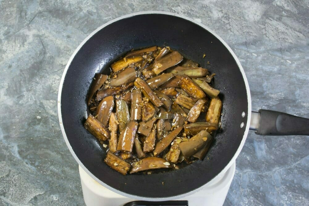 Step 5 Add Cooked Eggplant And Bay Leaf