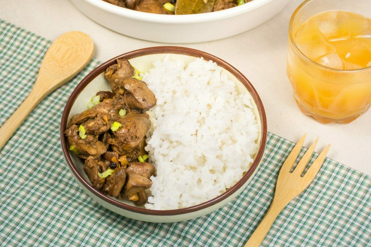 Plate Of Chicken Liver Adobo On Table
