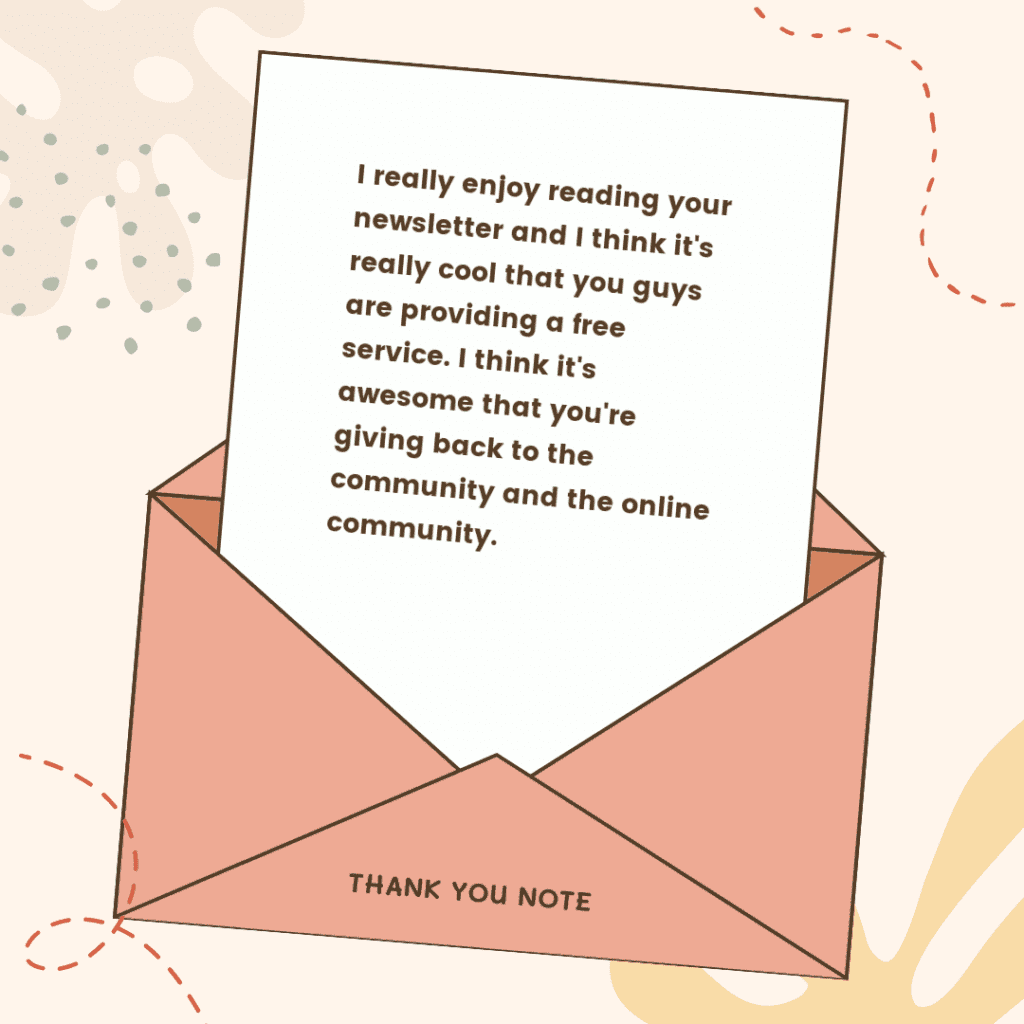 thank you for the newsletter